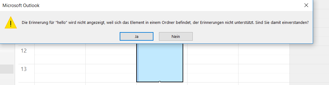 Error messages when creating calendar entries in Outlook